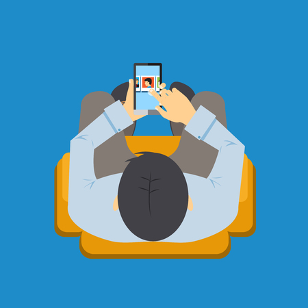 View from overhead of a man sitting in a chair using an app on his mobile phone with the screen visible as he navigates with his finger  vector illustration Vector