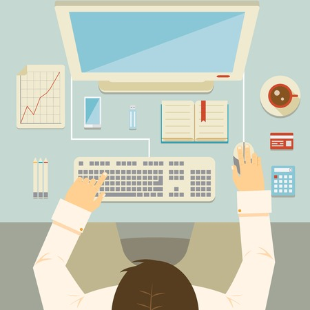 Overhead perspective of a businessman working at his desk using a desktop computer  keyboard  mouse  bank card  graph  calculator and coffee  vector illustration Illustration