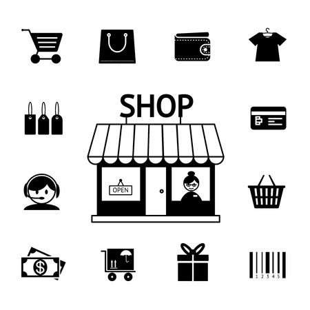 shop assistant: Set of vector shopping icons in black and white with a cart  trolley  wallet  bank card  shop  store  money  gift  delivery and bar code depicting consumerism and retail purchasing