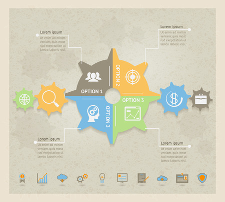 Vector Business Concept Gears Infographic design template Illustration