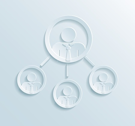 managerial: Business management structure infographics with manager or team leader in top circle linked to three employees or office workers flat paper style