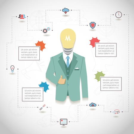 operating system: Vector SEO Infographic with man in suit with light bulb head and text blocks