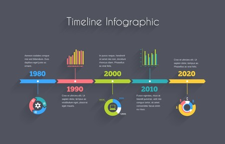 Vector Timeline Infographic template with charts and text Illustration