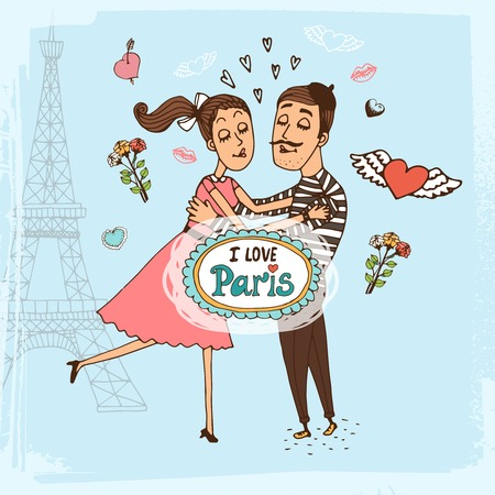 kiss couple: I Love Paris hand-drawn illustration with a couple of lovers in an intimate embrace in front of the Eiffel Tower surrounded by hearts and flowers and a central cartouche or frame containing the text Illustration