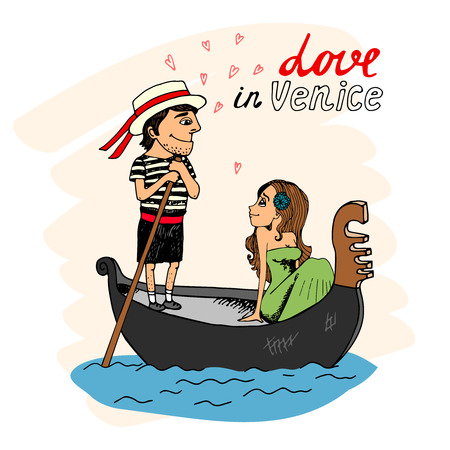 Love in Venice between a handsome gondolier and pretty young woman taking a trip in the gondola looking into each others eyes with hearts and text - Love in Venice Illustration