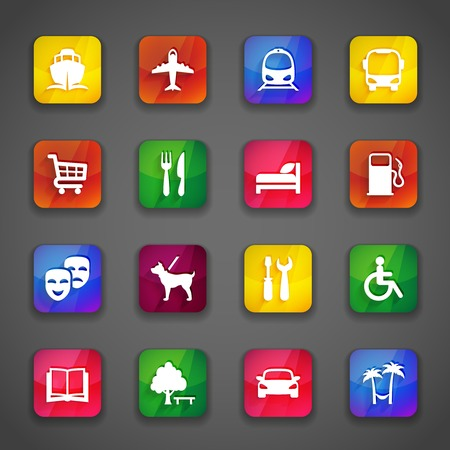 accommodation: simple vector icons on the colored trendy buttons Illustration