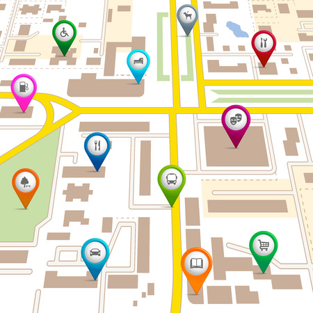 amenities: City map with pin pointers giving the location of various services such as the theatre  garage  hotel  hospital  supermarket  restaurant  park  dog walking  bus  library  and car park