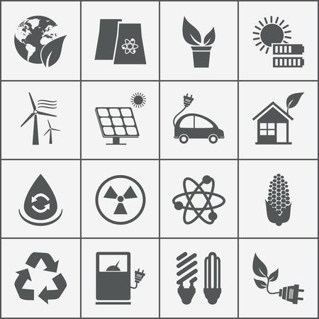 turbina: Conjunto de iconos de la energ�a nuclear con eco energ�a e�lica y solar reciclaje coche el�ctrico biocombustible ma�z bombilla ecol�gica luz de la bater�a recargable fotovoltaica aerogenerador panel y una casa verde