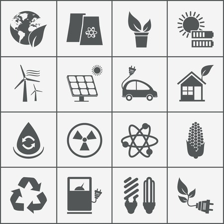 electric utility: Set of eco energy icons with wind  nuclear  and solar power  electric car  recycling  eco light bulb  maize  biofuel  rechargeable battery  photovoltaic panel  wind turbine and a green house