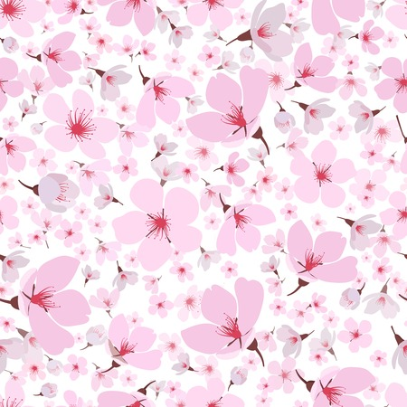 sakura flowers: Seamless background pattern of pink Sakura blossom or Japanese flowering cherry symbolic of Spring in a random arrangement on a white background  square format suitable for textile  wallpaper or tiles