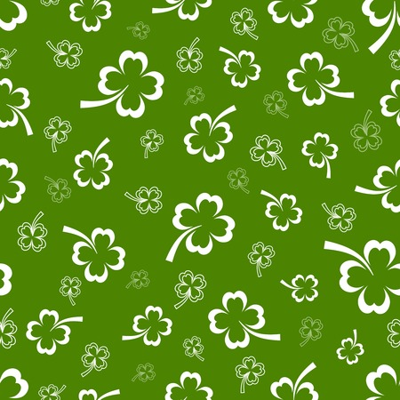 fortunate: Shamrock vector seamless pattern with scattered Irish shamrocks on a green background in square format suitable for textile or wallpaper Illustration