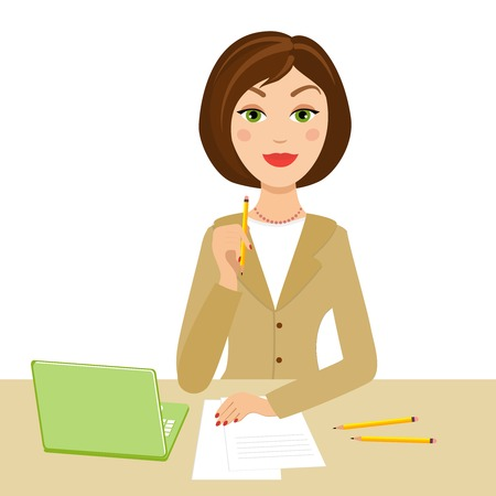 girl using laptop: office secretary with notebook and pencil on her hand Illustration