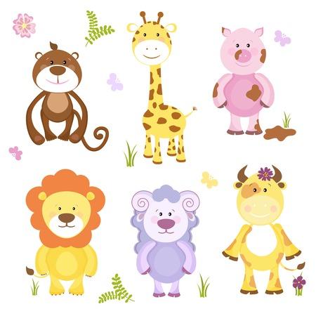 Cute vector cartoon dierlijke set met zowel wilde dieren en boerderijdieren, waaronder een schaap koe varken aap giraf en leeuw geschikt voor kinderen op wit wordt geïsoleerd