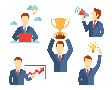 Set of vector businessman icons flat style showing him working at a desk  holding a trophy  doing a presentation  holding a megaphone and a lightbulb inspirational idea Illusztráció