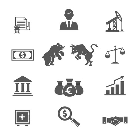bear market: Set of black and white vector financial stock icons with a broker  oil and mining futures  banknotes  money  bear  bull  scales  bank  graphs  charts  safe  magnifying  glass  analysis and handshake Illustration