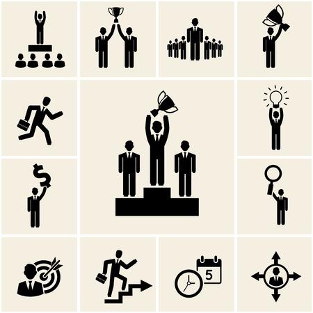reconocimiento: Conjunto de negocios y profesionales de vectores iconos que representan los logros y los beneficios con un hombre que sostiene un trofeo liderazgo ganador bombilla promoción dólar de aumento de reloj blanco de vidrio y calendario