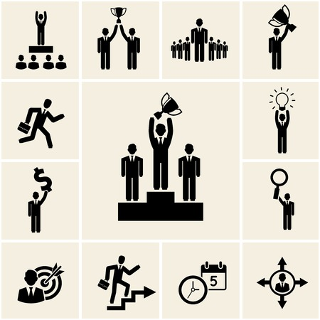 competitive business: Set of vector business and career icons depicting achievement and reward with a man holding a trophy  winner  leadership  promotion  lightbulb  dollar  magnifying glass  target  clock and calendar