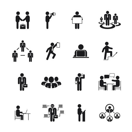 Business People Icons in different poses, vector black silhouettes Vector