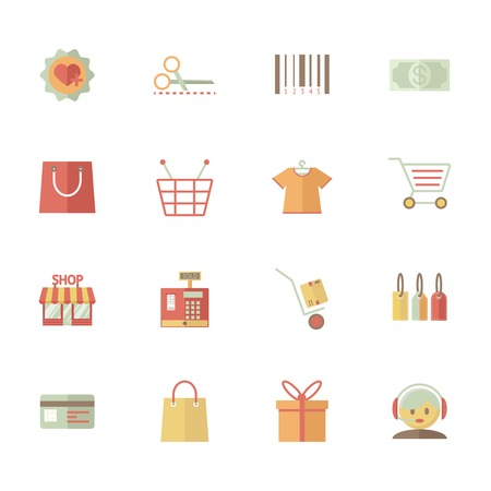 gift basket: Set of vector supermarket services and shopping icons with bar code  tags  merchandise money bank card delivery till payment call centre customer services gift bag basket and trolley Illustration