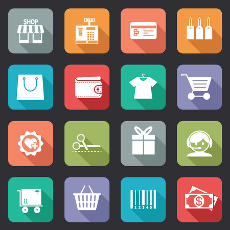 bankcard: Set of colorful purchase icons in flat style on web buttons showing a store  till  bankcard  tags  bag  wallet  fashion  trolley  scissors  gift  call centre   delivery  basket  bar code  and dollars