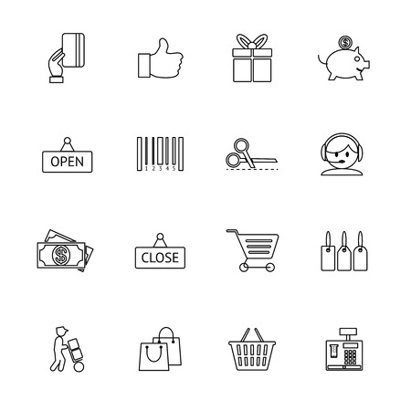 Vector thin and light purchase icons set Vector