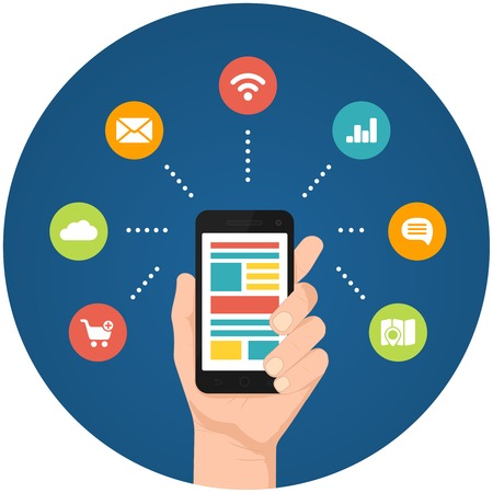 realtime: Smartphone apps infographics with a hand holding a phone with linked circular icons for shopping  cloud computing mail wifi analytics speech and route finder or maps