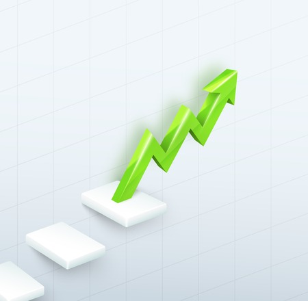 trending: 3d vector green arrow graph with steps up on white background Illustration