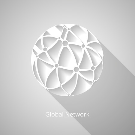 Paper white global network icon with shadows Illustration