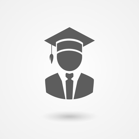 doctorate: Graduate or professor in a mortarboard hat conceptual of graduation and completing a college or university education or of the teaching profession  vector icon