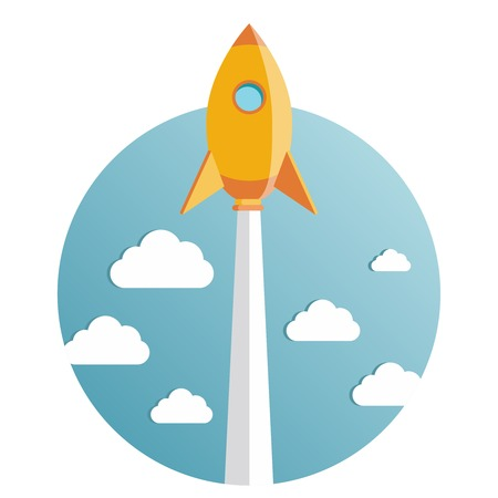 Startup new business project with rocket and clouds image Vector