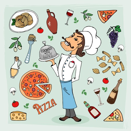 specialities: Italian cuisine and food hand-drawn illustration with a handsome chef in a toque holding a food dome surrounded by icons depicting pasta  spaghetti  pizza  wine  grapes  olives and cooking ingredients