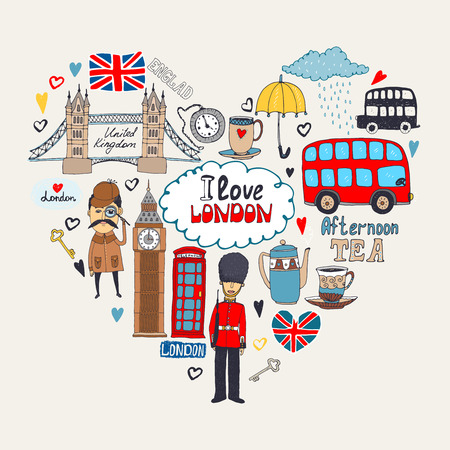 london bus: London in my Heart or I Love London card design with landmark icons arranged in a heart shape