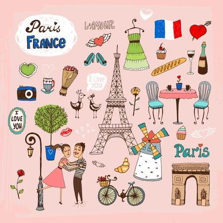 Set of hand-drawn Paris  France landmarks and icons with lovers  the Eiffel Tower  lamppost  fashion  Arc de Trimphe  bicycle  baguette and outdoor restaurant Vector