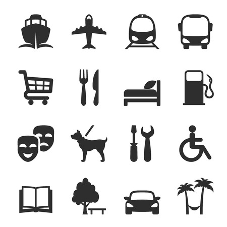 amenities: Set of icons for locations and services with a port  airport  bus  tram  shopping trolley  restaurant  accommodation  hotel  theatre  gas station  workshop  library  dog walking  resort and hospital Illustration