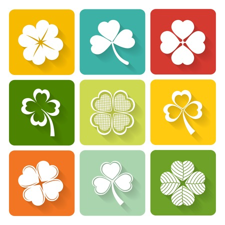 Set of shamrock and clover icons on colorful square buttons conceptual of the Irish and good luck