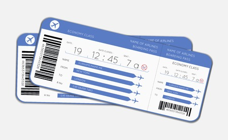 Vector illustration of two boarding passes for boarding a flight on an aircraft   cruise liner or ferry or a sleeper on a train when using transport services