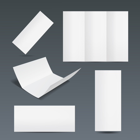 partially: Set of templates for a leaflet  brochure or flyer with a blank white paper showing a trifold design open completely  partially open  folded closed in different orientations on a grey background