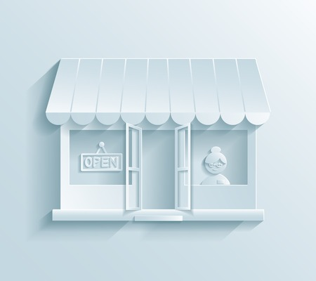 Store paper icon showing a store front with an assistant or customer inside and an awning on the exterior in a retail and commercial concept Vector