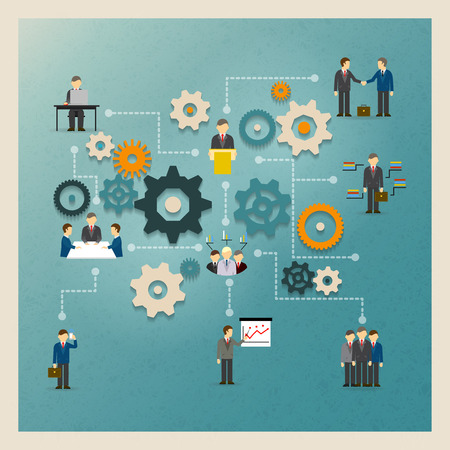 business partnership: Vector business gears infographics with people and icons
