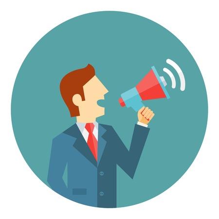 political rally: Uomo d'affari con un megafono o megafono fare un annuncio pubblico in una manifestazione politica messa in scena una protesta o l'emissione di istruzioni Vettoriali