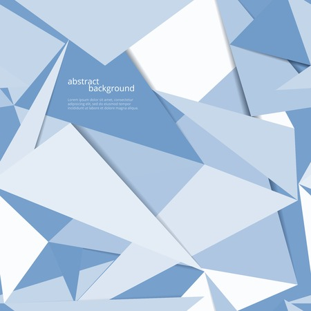 three angled: business blue origami vector background with text place