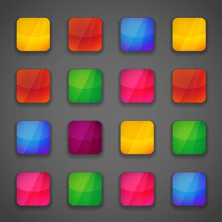 Set of colorful square button icons for your design in vivid bright colors of the rainbow Vector