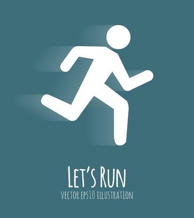 run: Let s Run Poster, running white man vector eps10 illustration
