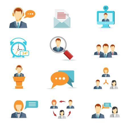 평면 스타일의 온라인 비즈니스, 커뮤니케이션 및 웹 컨퍼런스 아이콘 일러스트