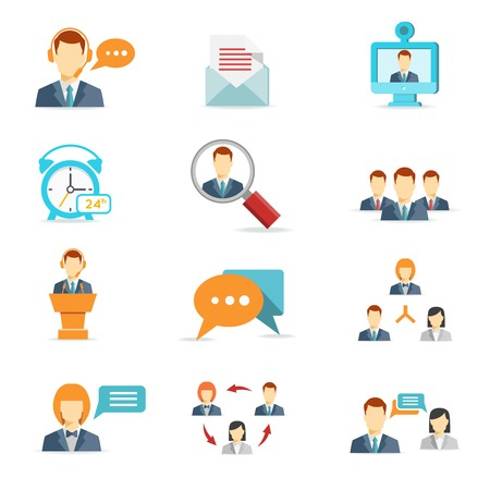 Iconos de negocios en línea, comunicación y conferencias web en estilo plano