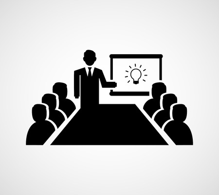Presenting Idea Icon, man stands in front of an audience