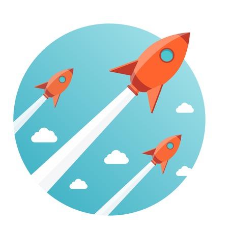 新しいビジネスのプロジェクトのスタートアップ、新製品またはサービスを起動するための近代的なベクトル イラスト コンセプト  イラスト・ベクター素材