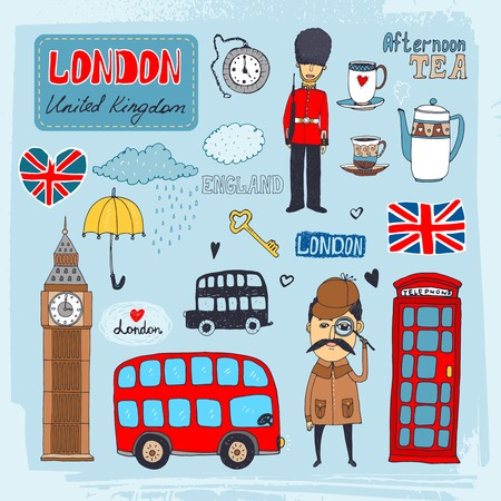 telephone booth: Set of hand-drawn illustrations of London landmarks and iconic symbols including beefeater guard  Big Ben  tea  telephone booth red double-decker bus Illustration