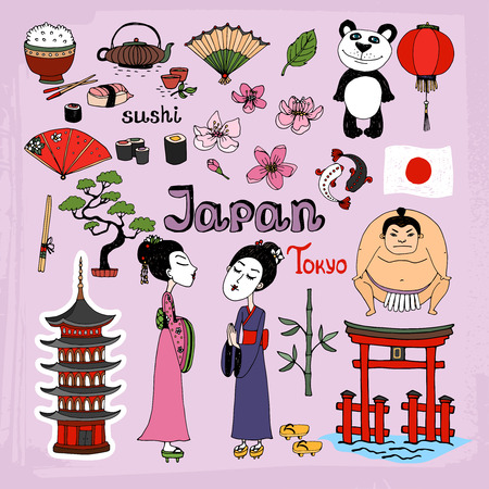 Japan landmarks and cultural icons vector set with Geisha girls  Torii Gates  sumo wrestler  fans  panda  paper lantern  bonsai  cherry blossom  koi  bamboo  tea and rice Vector