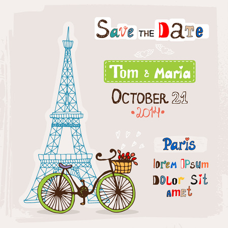 wedding invitation card with Paris vector illustration Vector